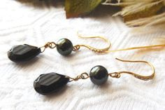 NWOT One of a Kind 18K Gold Vermeil, Onyx, Glass Pearl and Crystal Earrings…