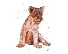 Bébé LION imprimer, aquarelle lion, pépinière de safari imprime, lion cub impression, mignon animaux, tirage 8 x 10