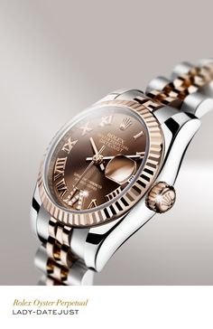 Rolex Lady-Datejust 26 mm in 904L steel and 18 ct Everose gold with a fluted bezel, gem-set chocolate dial and Jubilee bracelet. www.sartorhamann.com