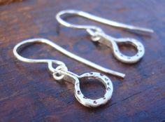 Starry Night // earrings. hammered SS tiny Sterling Silver Earrings. Modern Handmade Earrings minimal boho chic tiny half moon hoop earrings