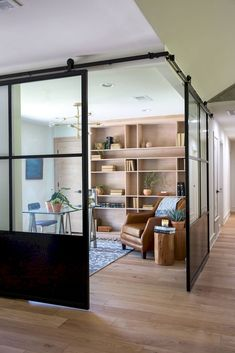 60 Comfy Farmhouse Living Room Designs To Steal Glass Barn Doors, Sliding Glass Door, Sliding Wall, Corner Door, Corner Office, Modern Farmhouse Living Room Decor, Farmhouse Style, Rustic Farmhouse, Interior Barn Doors