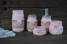 Rustic mason jar bathroom jar set. Hand painted in soft pink, lightly distressed, tied with burlap, lace, seed pearls and roses in shades of pink and rose, fini