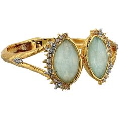 Alexis Bittar Crystal Studded Spur Trimmed Hinge w/ Custom Amazonite... ($222) ❤ liked on Polyvore featuring jewelry and bracelets