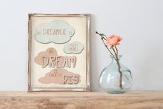 No dreamer is ever to small no dream is ever to big (32AOWD) Dusty Pink and Blue Clouds Dream Big Art Print Cottage Chic Style Art by OrangeWillowDesigns on Etsy