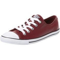 Converse Women's Chuck Taylor Dainty Leather Sneaker - Red - Size 10w ($45) ❤ liked on Polyvore featuring shoes, sneakers, red, red sneakers, synthetic leather shoes, leather sneakers, lacing sneakers and converse sneakers
