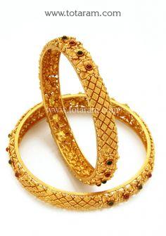 Gold Bangles (Temple Jewellery) - Set of 2 Pair): Totaram Jewelers: Buy Indian Gold jewelry & Diamond jewelry Gold Temple Jewellery, Gold Jewelry, Diamond Jewelry, India Jewelry, Wedding Jewelry, Jewelery, Fine Jewelry, Gold Bangles Design, Jewelry Design