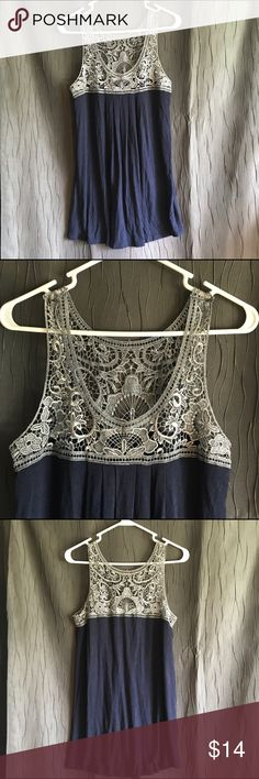 🌼Navy Blue & Gray Lace Tank Top🌼 Very cute & stylish tank top by B'Leev. Top portion of the tank is gray floral lace, while the bottom is navy blue. The top blouses out nicely and is very comfortable!! Size medium, NWOT! B'Leev Tops Tank Tops
