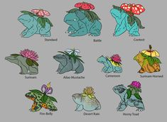 nmzuka:Venusaur variants!Top row are the body variants and the lower two are subspecies variants. I tried to stick to types of toads (for the most part with the flowers I just searched for flowers that grow in the region the type of toad was from but obviously didn't follow that with all of them. The only one I really had a specific thought in which flower it got was the Fire-Belly which got Nightshade, going with the thought of them being something predators should think twice about eating)…