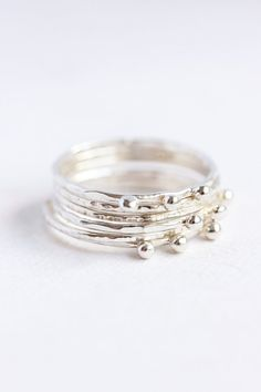 Thin sterling silver stacking rings organic eco