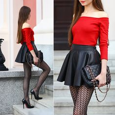Get this look: http://lb.nu/look/7854422  More looks by Ariadna Majewska: http://lb.nu/ariadna92  Items in this look:  Red Top, Black Tights, Black Skirt   #chic #elegant #minimal