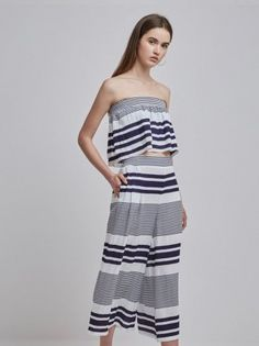 New Arrivals   Alterior Motif  Finders Keepers - Mason Crop and Culotte - Navy Stripe