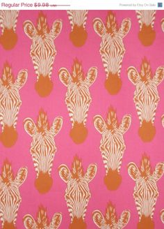 ON SALE Cocoa and Hot Pink Zebra Head Print by fabricsandtrimmings, $8.48