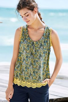Buy Yellow/Blue Lace Trim Cami from the Next UK online shop