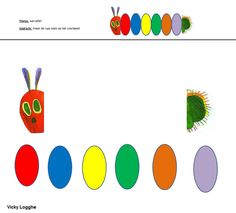 peuters - maak de rups zoals op het voorbeeld (Ik knipte alle bollen al uit natuurlijk op voorhand)