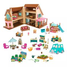 Li'l Woodzeez Toy House With Accessories 127pc - Honeysuckle Hillside Cottage : Target Pet Toys, Kids Toys, Toddler Toys, Design Your Own Bedroom, Blue Jeep, Curious Kids, Toy House, Cottage, Family Set
