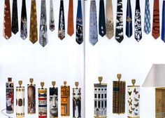 Neckties by Barnaba Fornasetti 1993-2003  Lamp bases by Piero Fornasetti, 1950s and 60s