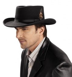 dda53c87d9c Introducing the Stetson Black Hawk. This gambler style wool felt ...