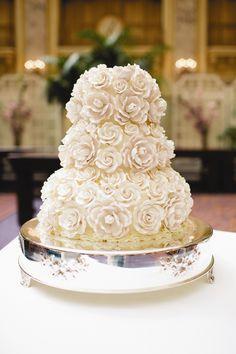 Sugar Flower Wedding Cake   Palace Hotel   Inkspot Photography   TheKnot.com
