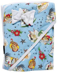 Six Bunnies Aloha One Piece Romper Baby Cute Tattoo Hula Rockabilly Gift Blue