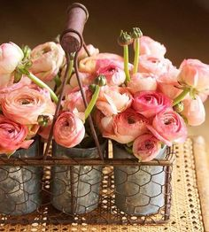 """Designing in tin crates ! Flowers : ranunculus In the language of flowers, a bouquet of ranunculus says, """"I am dazzled by your charms. Fresh Flowers, Pretty In Pink, Beautiful Flowers, Pink Flowers, Pink Roses, Ranunculus Flowers, Ranunculus Wedding, Pink Peonies, Pretty Roses"""