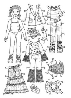 Karen`s Paper Dolls: Josefine 1-4 Paper Doll to Colour. Påklædningsdukke Josefine 1-4 til at farvelægge.