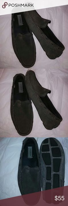 Marc New York Men Loafers Sz 43 Preowned Suede Gray Shoes Loafers & Slip-Ons