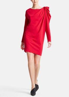 Va-va-voom! Such a red hot Lanvin dress. The draped shoulder detail is amazing.