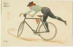 Woman getting on bicycle, from the series All Heil | Holy smokes. Not this woman.