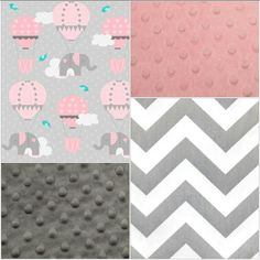 Etsy Baby Girl Crib Bedding - Elephants and Hot Air Balloons, Gray Chevron, Blush Minky, and Gray Minky C Elephant Baby Bedding, Elephant Fabric, Baby Girl Crib Bedding, Elephant Nursery, Cute Elephant, Pink Elephant, Girl Nursery, Nursery Ideas, Elephant Crafts