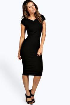 Cara Cap Sleeve Jersey Bodycon Midi Dress at boohoo.com