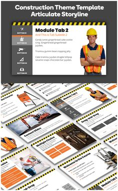 Construction Theme Course Starter Template for Articulate Storyline by Montse Theme Template, Branding Template, Construction Theme, Instructional Technology, Wisdom Quotes, Adobe, Remote, Templates, Education
