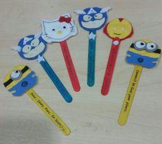 Bookmarks made of felt on popsicle sticks