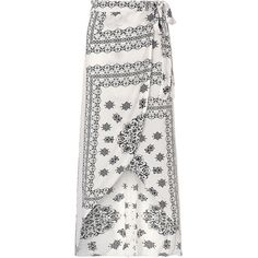Bohemian Printed Side Slit Irregular   Maxi Skirt (130 SEK) ❤ liked on Polyvore featuring skirts, white, women bottoms skirts, print maxi skirt, boho skirts, boho maxi skirt, long bohemian skirt and side slit maxi skirt