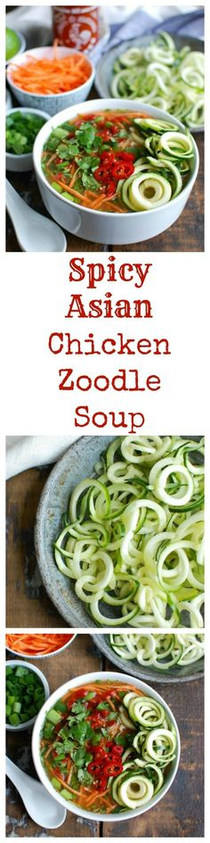 Spicy Asian Chicken Zoodle Soup is a lightened up version of your favorite Asian Chicken Noodle Soup using zucchini noodles. A spicy chicken broth is paired with chicken, carrots, fresh cilantro and green onions, Sriracha, lime juice and fresh ginger. This soups packs a lot of flavor into one bowl of soup.  // A Cedar Spoon