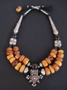 Antique Moroccan Fossil Amber, Black Coral and Silver Necklace