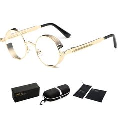 398f2bad38 Vintage Steampunk Retro Metal Round Circle Frame Sunglasses - C9 clear Lens  Gold Frame - CX1847Y6EU7