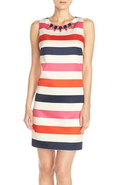 Crushing on this cheerful striped dress with glamorous baubles along the neckline for a elegant spring look.