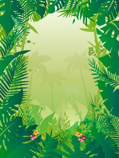 Nature and exotic places vector graphics of a jungle. Plant leaves and different flowers creating a frame and silhouettes of palm trees in the center. Free vector for your posters, flyers, product labels, event invitations, greeting cards and backgrounds. Graphics for nature and plants designs. Exotic Forest by vectorjungle.com