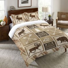 Country Cabin Duvet Cover and Shams, Cabin Rules by Jennifer Pugh