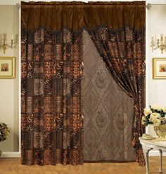 """Safari Brown Fur Curtain Set by KingLinen. $29.99. This is the matching curtain set for Safari patchwork micro suede comforter set.FeaturesColor: Brown/BlackMatching Comforter AvailableThis set includes:2 Curtain Panels w/Attached Valance and Sheer Backings(60""""x84"""" x2)2 Tieback Tassels. Save 75%!"""