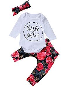 Baby Girls Little Sister Bodysuit Tops Floral Pants Bowknot Headband Outfits  Set Baby Girl Newborn 7ffc98a4ee7