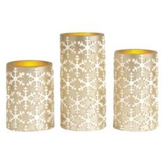 3-piece Snowflake Flameless LED Embossed Candle Set