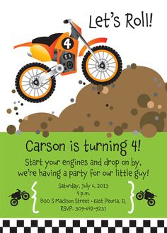 Dirt Bike Birthday Party Invitation for kids by TBoneSquid on Etsy, $15.00