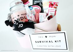 This adorable new mom gift basket is the perfect way to help a new mom feel loved. It includes everything she needs for a cozy and relaxing night in! #giftsfornewparents #newmomgiftbasketsurvivalkit #newmomgiftbasketdiy #newmomgiftbasket #newmomessentialsgiftbasket