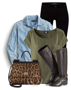 """""""Dolce & Cabanna Leopard Print Bag"""" by colierollers ❤ liked on Polyvore featuring J Brand, J.Crew, H&M, Dolce&Gabbana, Tory Burch and Rebecca Norman"""
