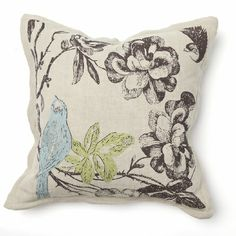 "I love the simple pops of color in the ""Paradise Flower with Embroidered Bluebird Throw Pillow"" for my neutral nursery!"