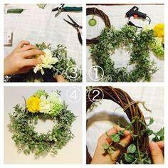 造花(アートフラワー)とダイソーグッズでフラワーリースを手作りする3ステップ - 手作り結婚式への道のり #wedding #ウエディング #フラワーリース #flower wreath #ハンドメイド Handmade Flowers, Spring Wreaths, Crafts, Wedding, Space, Learning, Decor, Interior, Creative Flower Arrangements