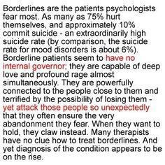 As someone who struggles with BPD, I can honestly say that this describes me perfectly, and it scares me.