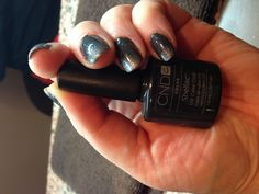 Evie's amazing holiday ombré CND shellac glitter nails! Asphalt base. -Ridgefield Salon & Spa