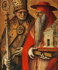 Polittico del Duomo di Camerino - Dettaglio dei Santi Ansovino e Girolamo- Carlo Crivelli